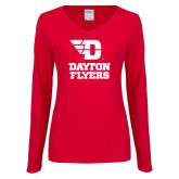 Ladies Red Long Sleeve V Neck Tee-Dayton Flyers Stacked