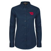 Ladies Navy Twill Button Down Long Sleeve-Flying D