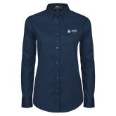Ladies Navy Twill Button Down Long Sleeve-Primary University Logo