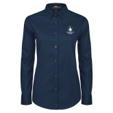 Ladies Navy Twill Button Down Long Sleeve-Vertical University Logo