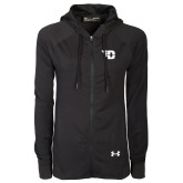 Ladies Under Armour Black Varsity Full Zip Hoodie-Flying D