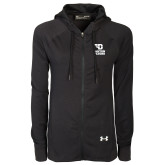 Ladies Under Armour Black Varsity Full Zip Hoodie-Dayton Flyers Stacked