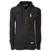 Ladies Under Armour Black Varsity Full Zip Hoodie-Vertical University Logo