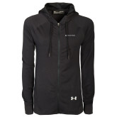 Ladies Under Armour Black Varsity Full Zip Hoodie-Horizontal University Logo