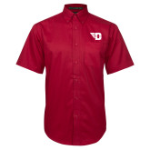 Red Twill Button Down Short Sleeve-Flying D