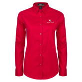Ladies Red Twill Button Down Long Sleeve-Dayton Flyers