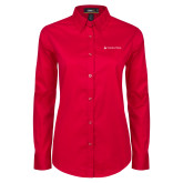 Ladies Red Twill Button Down Long Sleeve-Horizontal University Logo