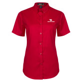 Ladies Red Twill Button Up Short Sleeve-Dayton Flyers