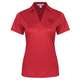 Ladies Red Performance Fine Jacquard Polo-Flying D