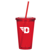 Madison Double Wall Red Tumbler w/Straw 16oz-Flying D