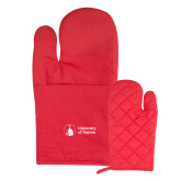 Quilted Canvas Red Oven Mitt-Primary University Logo
