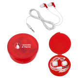 Ear Buds in Red Case-Primary University Logo