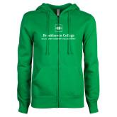 ENZA Ladies Kelly Green Fleece Full Zip Hoodie-Primary Mark