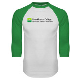 White/Kelly Green Raglan Baseball T Shirt-Primary Mark - Horizontal