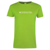 Ladies Lime Green T Shirt-Primary Mark - Horizontal