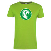 Ladies Lime Green T Shirt-Bear in Circle