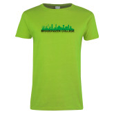 Ladies Lime Green T Shirt-Dallas Skyline