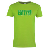 Ladies Lime Green T Shirt-Block Distressed