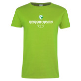 Ladies Lime Green T Shirt-Basketball Stacked