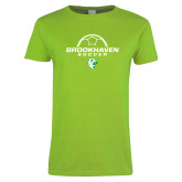 Ladies Lime Green T Shirt-Soccer Half Ball