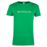 Ladies Kelly Green T Shirt-Primary Mark - Horizontal