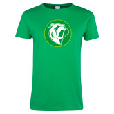 Ladies Kelly Green T Shirt-Bear in Circle