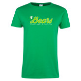 Ladies Kelly Green T Shirt-Script Bears