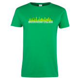 Ladies Kelly Green T Shirt-Dallas Skyline