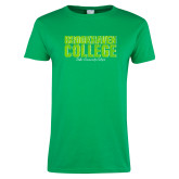Ladies Kelly Green T Shirt-Block Distressed