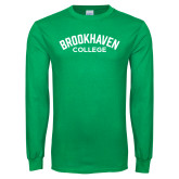Kelly Green Long Sleeve T Shirt-Arched Brookhaven College