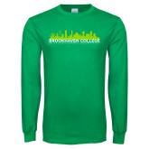 Kelly Green Long Sleeve T Shirt-Dallas Skyline