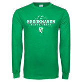Kelly Green Long Sleeve T Shirt-Abstract Volleyball