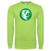 Lime Green Long Sleeve T Shirt-Bear in Circle