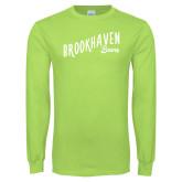 Lime Green Long Sleeve T Shirt-Fancy Script