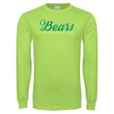 Lime Green Long Sleeve T Shirt-Script Bears