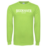 Lime Green Long Sleeve T Shirt-Squeeze Text