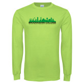 Lime Green Long Sleeve T Shirt-Dallas Skyline
