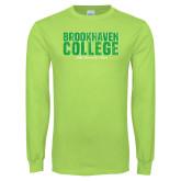 Lime Green Long Sleeve T Shirt-Block Distressed