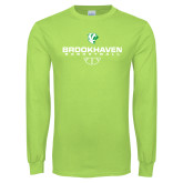 Lime Green Long Sleeve T Shirt-Basketball Stacked