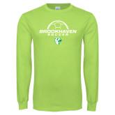 Lime Green Long Sleeve T Shirt-Soccer Half Ball