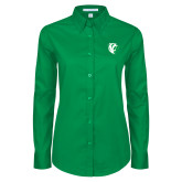 Ladies Kelly Green Twill Button Down Long Sleeve-Athletic Mark