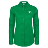 Ladies Kelly Green Twill Button Down Long Sleeve-Basketball