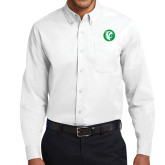 White Twill Button Down Long Sleeve-Bear in Circle
