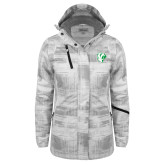 Ladies White Brushstroke Print Insulated Jacket-Athletic Mark