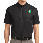 Black Twill Button Down Short Sleeve-Bear in Circle