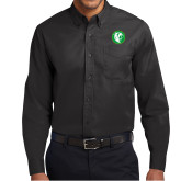 Black Twill Button Down Long Sleeve-Bear in Circle