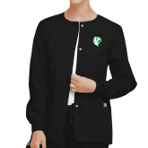 Ladies Black Snap Front Warm Up Scrub Jacket-Athletic Mark