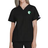 Ladies Black Two Pocket V Neck Scrub Top-Athletic Mark