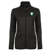 Black Heather Ladies Fleece Jacket-Athletic Mark