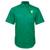 Kelly Green Twill Button Down Short Sleeve-Bear in Circle